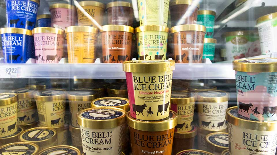 In this Friday, Sep. 14, 2018, photo various Blue Bell ice cream flavors fill up several shelves at the H-E-B at Mueller grocery store in Austin, Texas.