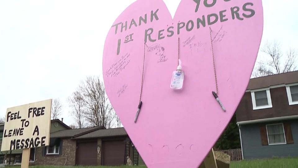 Cortland neighborhood thank you board