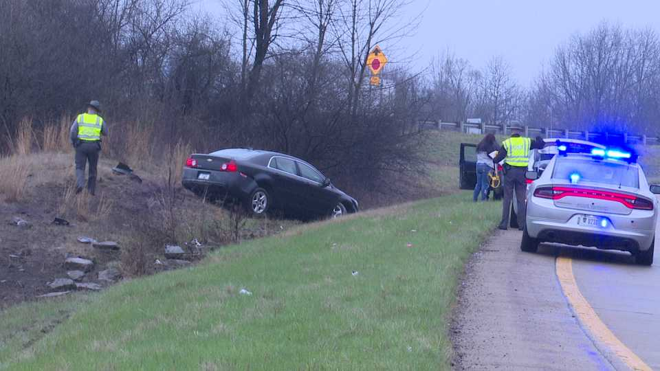 Interstate 80 to Ohio Turnpike accident, runs off road on exit.