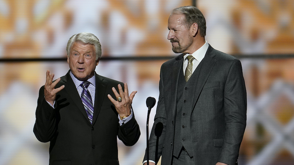 Former coaches, Jimmie Johnson, left, and Bill Cowher