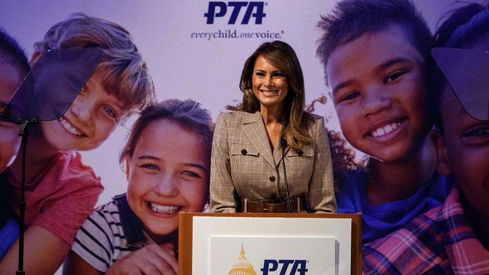 First lady urges PTA to teach positive behavior to children.