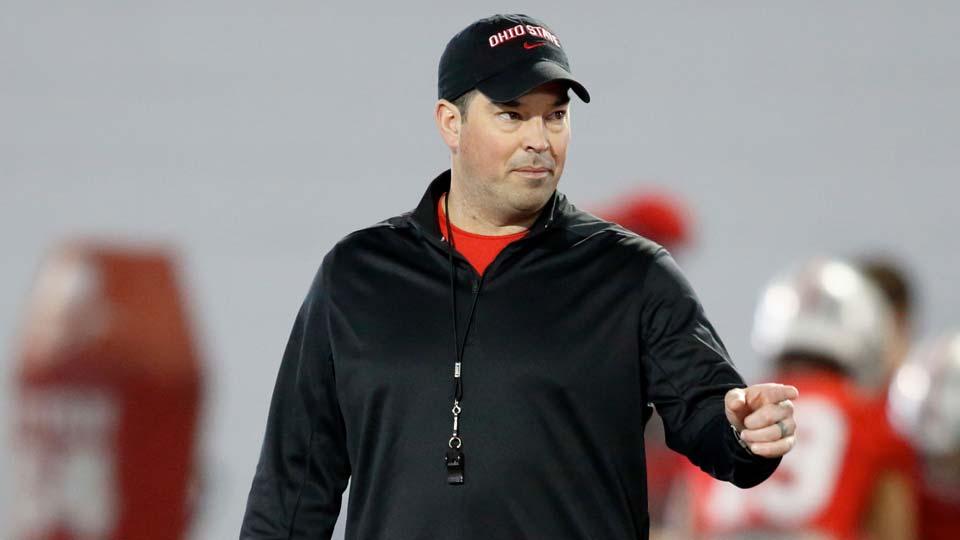 Ohio State Head Coach Ryan Day evaluates quarterbacks during spring practice