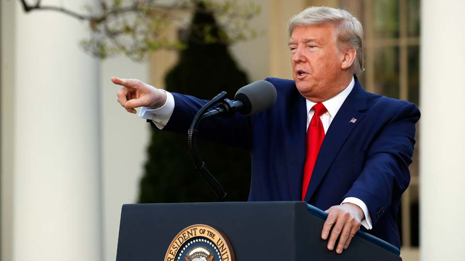 President Donald Trump speaks about the coronavirus in the Rose Garden of the White House