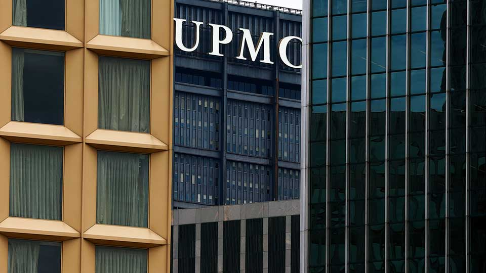This is the UPMC headquarters building, center, framed in the downtown Pittsburgh skyline on Monday, June 24, 2019. Pennsylvania Attorney General Josh Shapiro announces a ten-year network access agreement between UPMC and Highmark, Monday, June 24, 2019, in Pittsburgh.