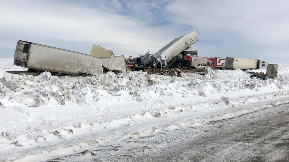 Snowy Wyoming highway pileup kills 3, injures dozens.