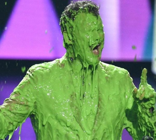 Chris Pratt reacts after getting slimed