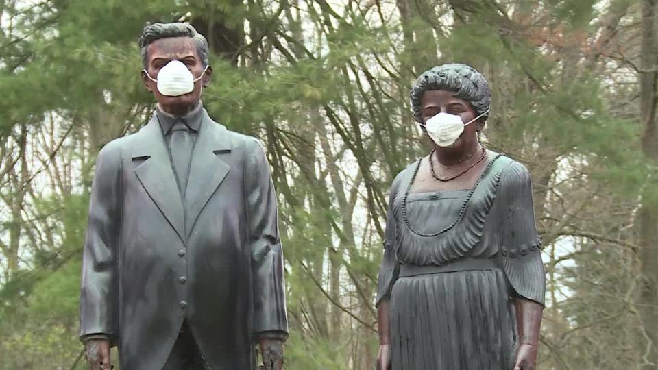Buhl Park statues, face masks