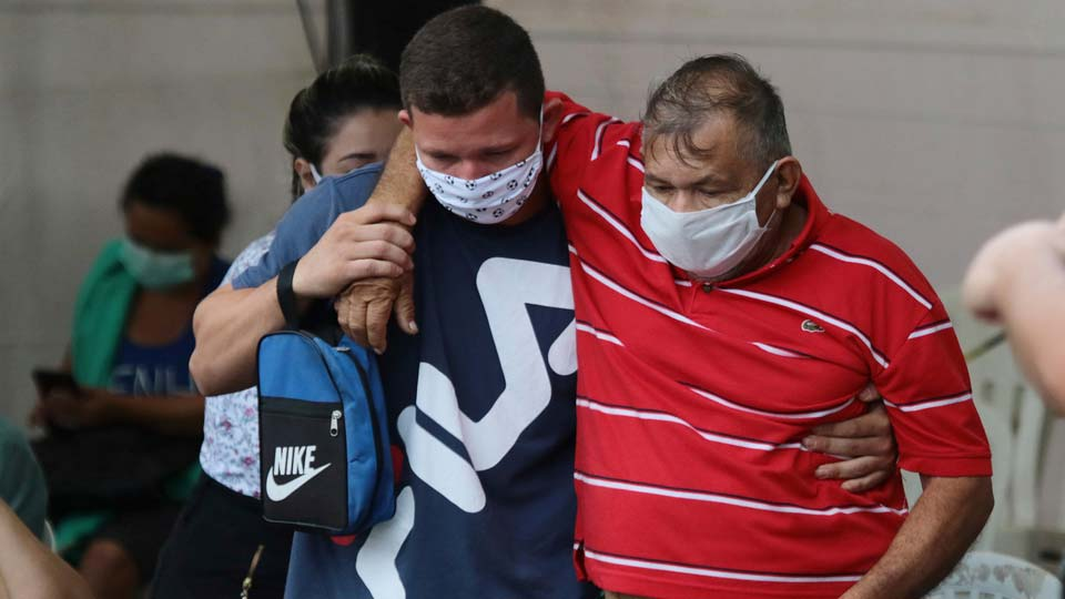Patient suspected of suffering from COVID-19 disease. leaves the 28 de Agosto hospital after waiting hours for medical attention in Manaus, Amazonas state, Brazil