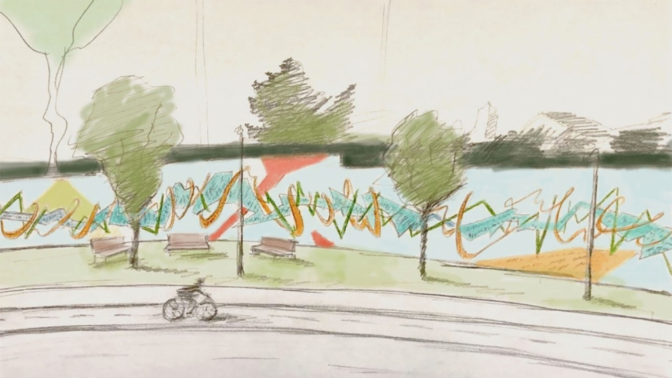 Downtown Youngstown memory mural sketch, YSU art students and Lit Youngstown.