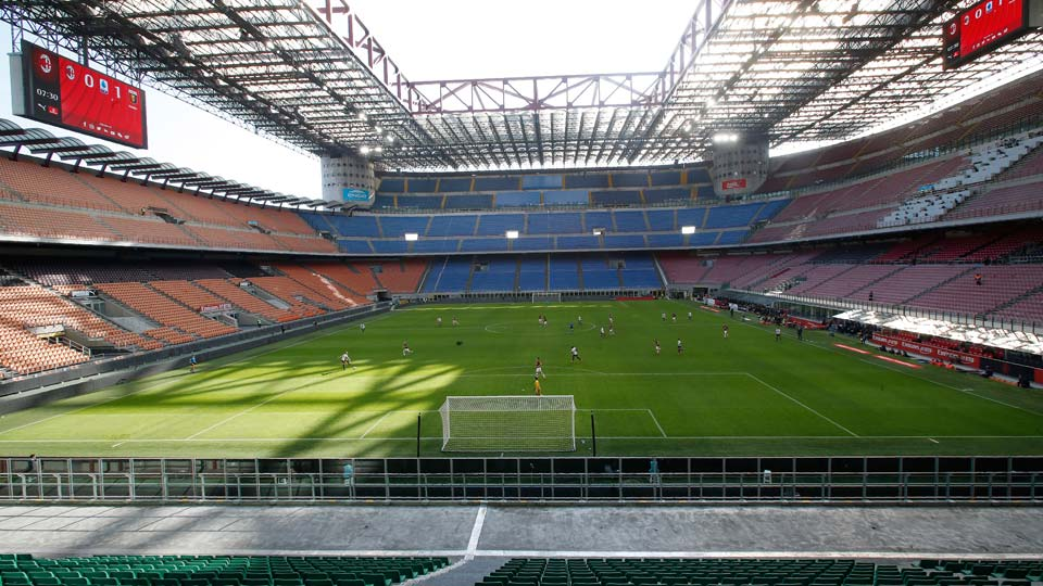 view of the empty San Siro stadium during the Serie A soccer match between AC Milan and Genoa, in Milan, Italy