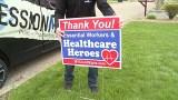 Essential worker sign, Second Harvest fundraiser