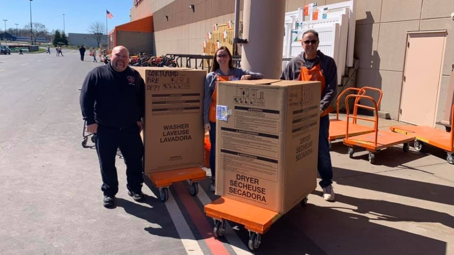 Home Depot donates washer, dryer to Cortland Fire Department