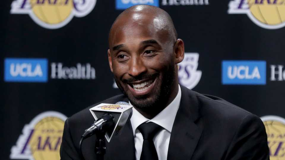In this Dc. 18, 2017 file photo, former Los Angeles Laker Kobe Bryant talks during a news conference in Los Angeles. Bryant and fellow NBA greats Tim Duncan and Kevin Garnett headlined a nine-person group announced Saturday, April 4, 2020, as this year's class of enshrinees into the Naismith Memorial Basketball Hall of Fame. They all got into the Hall in their first year of eligibility, as did WNBA great Tamika Catchings. Two-time NBA champion coach Rudy Tomjanovich, longtime Baylor women's coach Kim Mulkey, 1,000-game winner Barbara Stevens of Bentley and three-time Final Four coach Eddie Sutton were selected. So was former FIBA Secretary General Patrick Baumann.
