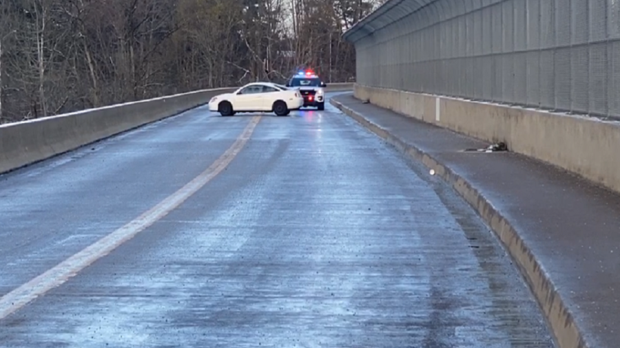 A car spun out on the Mahoning Ave. Bridge in Youngstown.