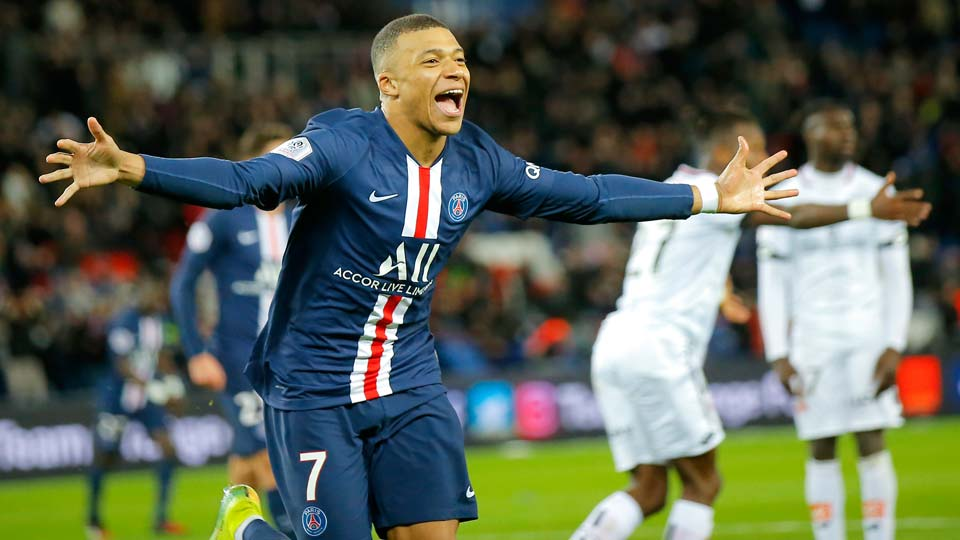 PSG's Kylian Mbappe celebrates after scoring his side's fourth goal