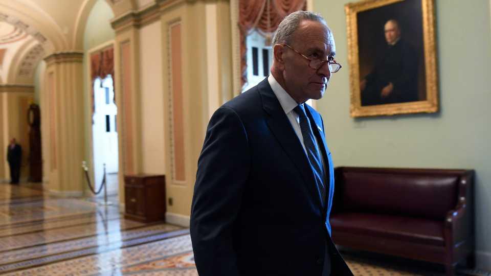 Senate Minority Leader Sen. Chuck Schumer of N.Y., walks on Capitol Hill in Washington, Friday, Jan. 3, 2020.