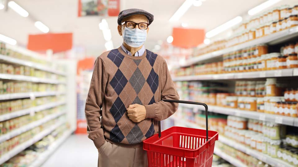 Seniors Grocery Shopping with Mask