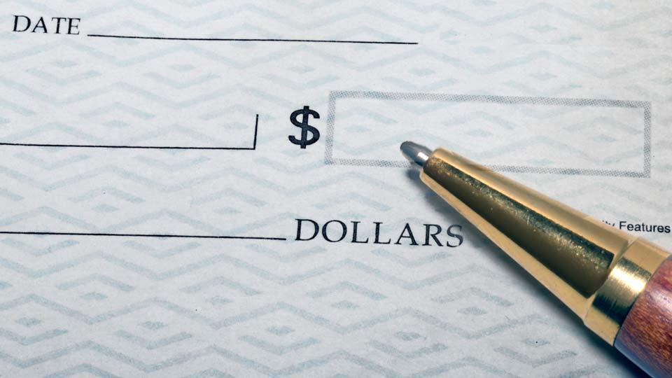 Check, Blank check, funding