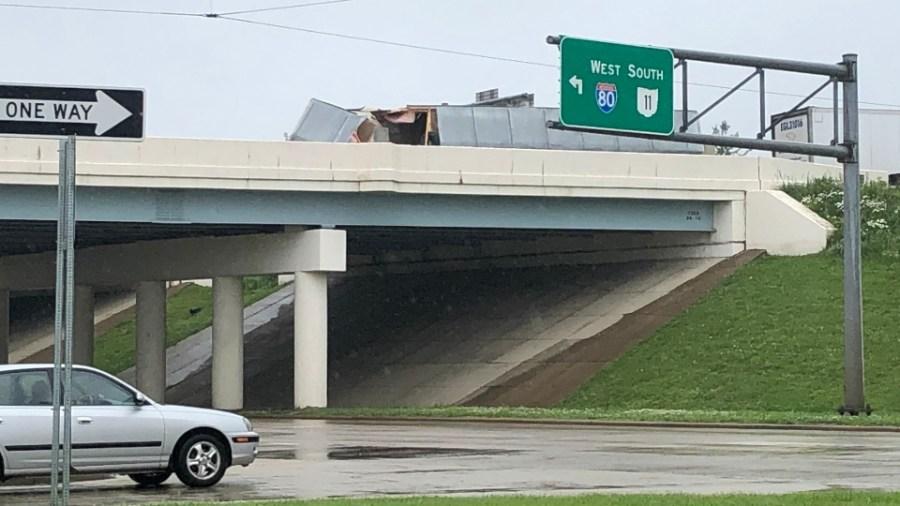 Box truck flips on Interstate 80.