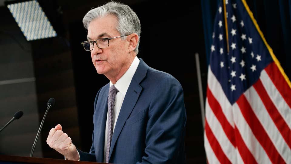 Federal Reserve Chair Jerome Powell speaks during a news conference in Washington