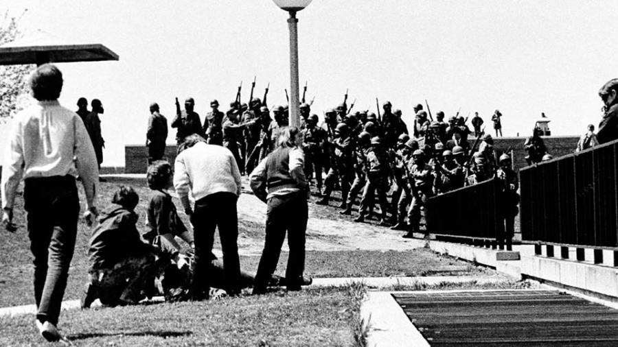 The Ohio National Guard opened fire on unarmed college students during a war protest at Kent State University on May 4, 1970.