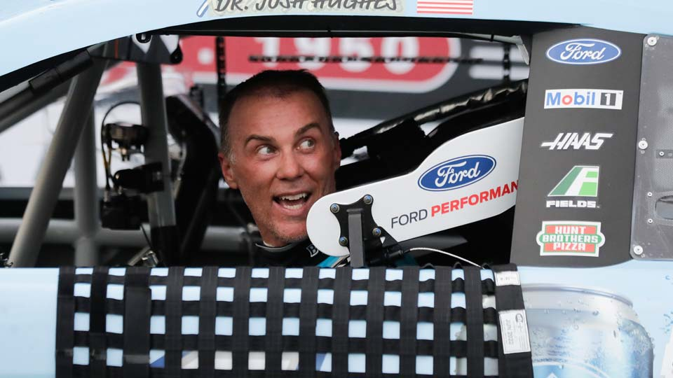 Kevin Harvick arrives in victory lane after winning the NASCAR Cup Series auto race
