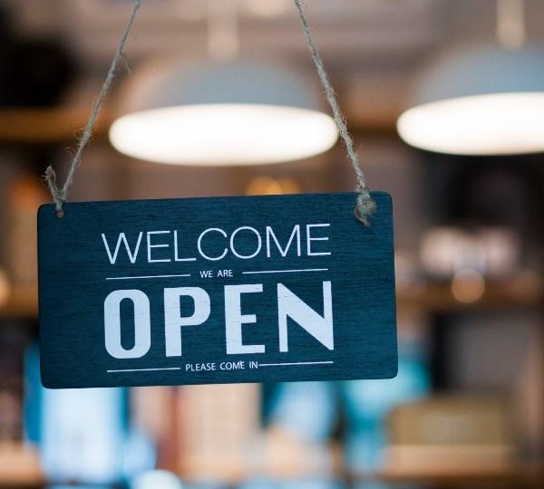 Restaurant, dine-in, open sign.