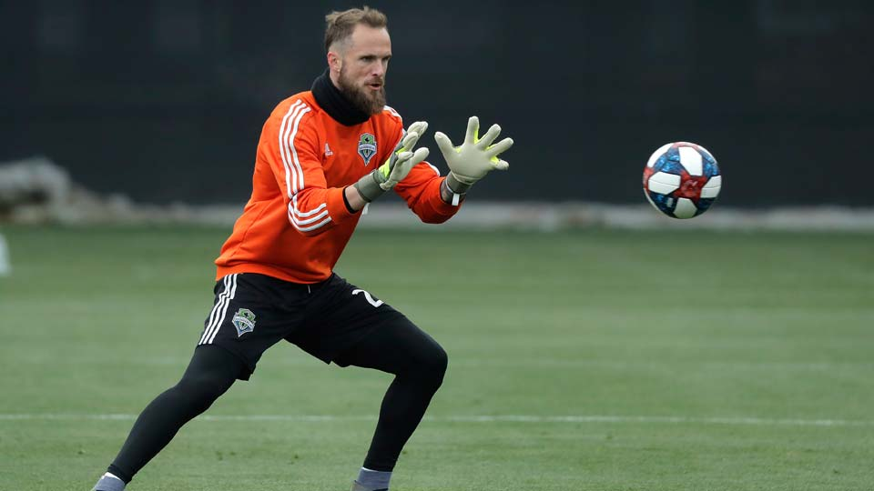 Seattle Sounders goalkeeper Stefan Frei makes a stop during training