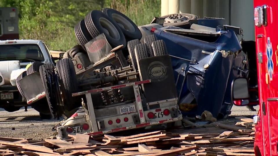 Semi rollover crash on I-80 ramp in Liberty