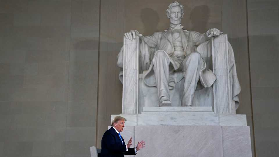 President Donald Trump speaks during a Fox News virtual town hall from the Lincoln Memorial, Sunday, May 3, 2020, in Washington.