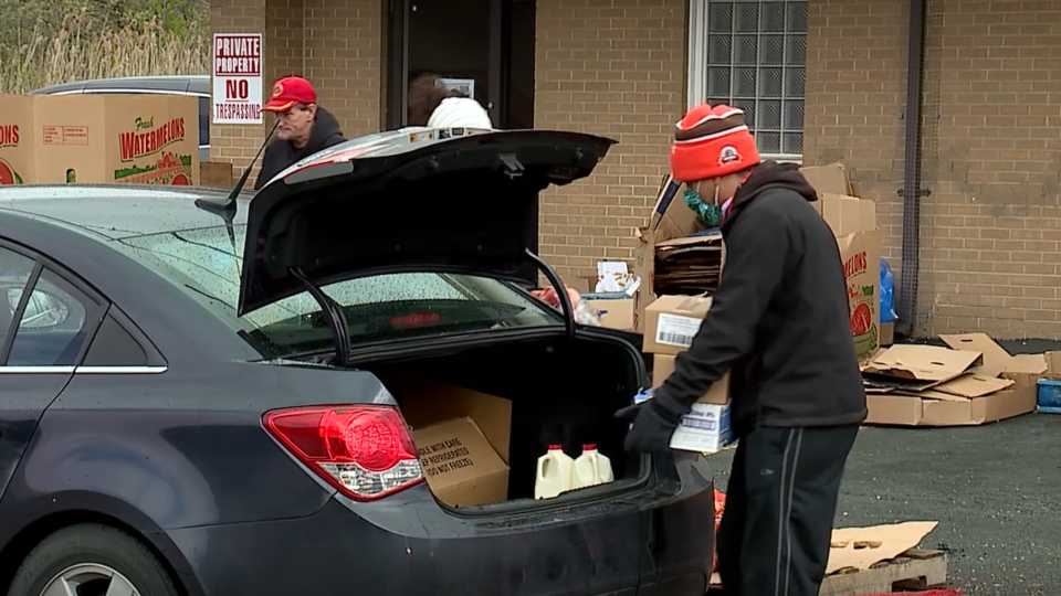 Youngstown food giveaway from WKBN's telethon money raised.