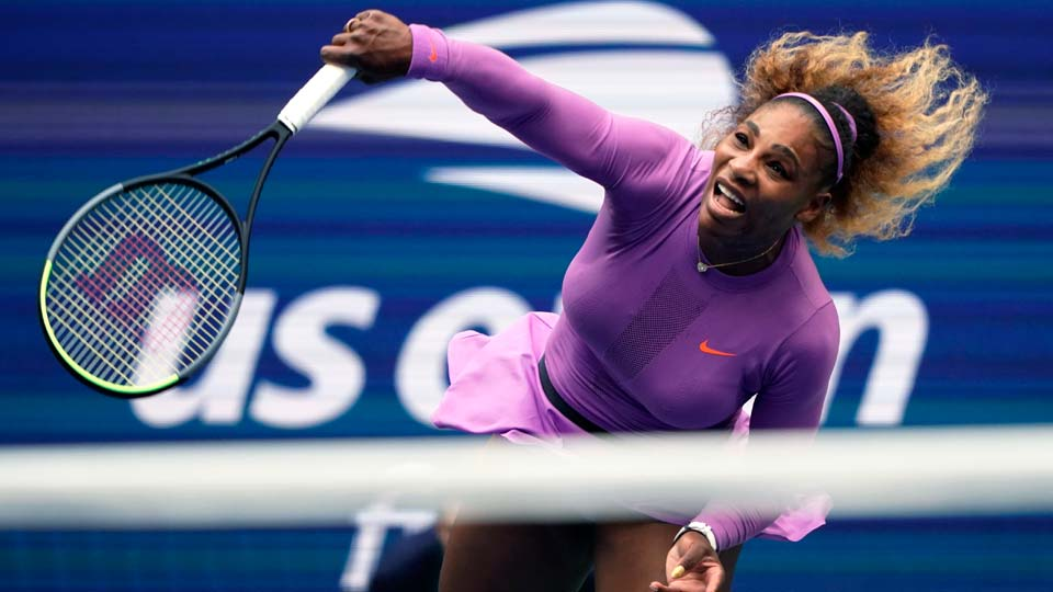 Serena Williams returns a shot to Bianca Andreescu, of Canada, during the women's singles final of the U.S. Open tennis championships in New York