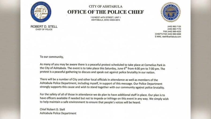 Ashtabula Police Letter