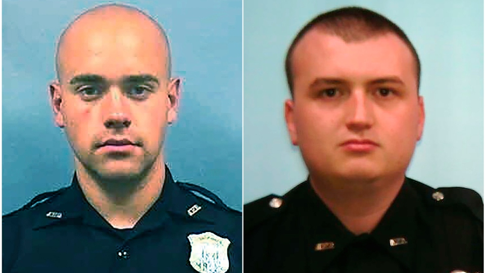 Officer Garrett Rolfe, left and Officer Devin Brosnan. Rolfe, who fatally shot Rayshard Brooks in the back after the fleeing man pointed a stun gun in his direction, was charged with felony murder and 10 other charges.