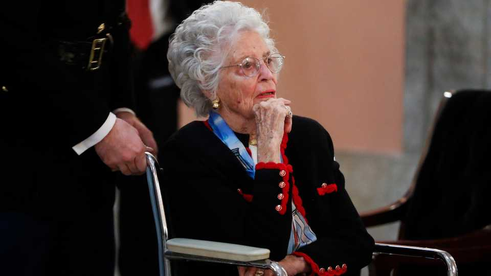 In this Dec. 16, 2016 file photo, Annie Glenn arrives to view the casket of her husband famed astronaut John Glenn as he lies in honor, in Columbus, Ohio. Glenn, the widow of astronaut and U.S. Sen. John Glenn and a communication disorders advocate, died Tuesday, May 19, 2020, of COVID-19 complications at a nursing home near St. Paul, Minn., at age 100.
