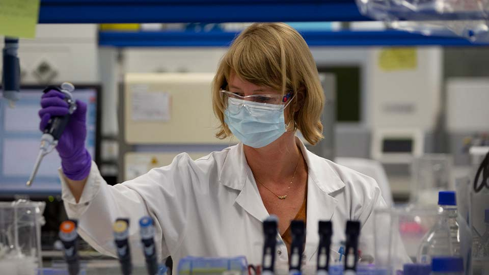 A lab technician works during research on coronavirus, COVID-19, at Johnson & Johnson subsidiary Janssen Pharmaceutical in Beerse, Belgium