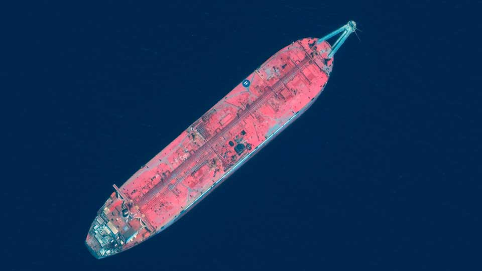 This satellite image provided by Manar Technologies taken June 17, 2020, shows the FSO Safer tanker moored off Ras Issa port, in Yemen