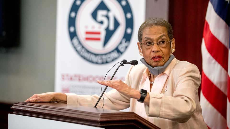 Delegate Eleanor Holmes Norton, D-D.C., speaks at a news conference on District of Columbia statehood on Capitol Hill