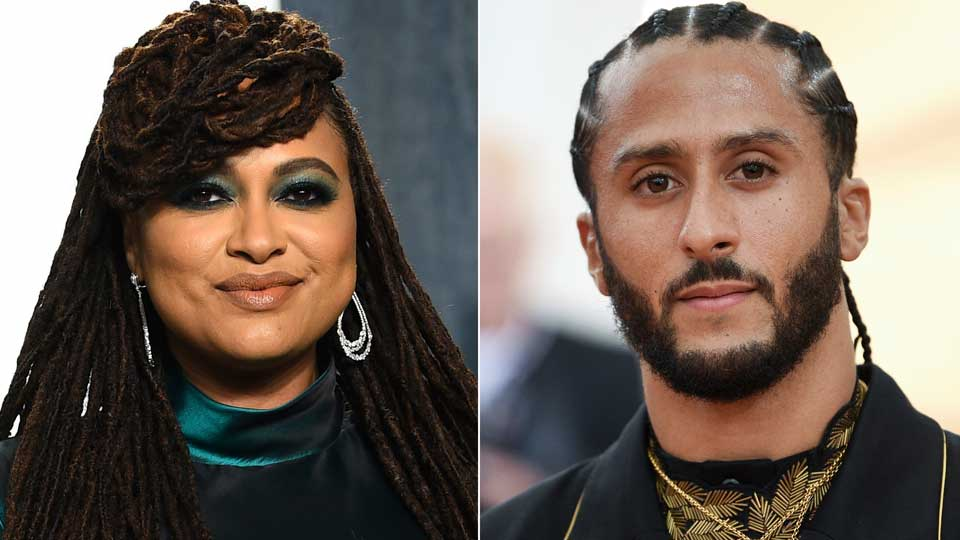 Filmmaker Ava DuVernay appears at the Vanity Fair Oscar Party in Beverly Hills, Calif. on Feb. 9, 2020, left, and Colin Kaepernick attends The Metropolitan Museum of Art's Costume Institute