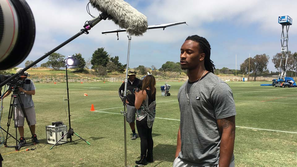 """Los Angeles Rams running back Todd Gurley is interviewed about the upcoming """"Hard Knocks: Training Camp with the Los Angeles Rams,"""""""