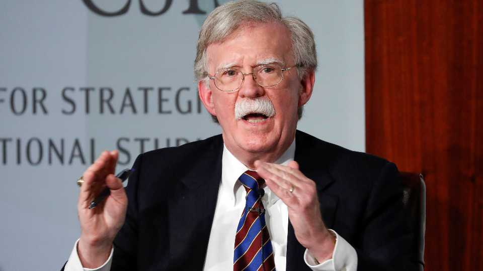 FILE - In this Sept. 30, 2019, file photo, former national security adviser John Bolton gestures while speakings at the Center for Strategic and International Studies in Washington.