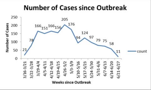 Number of cases since outbreak chart