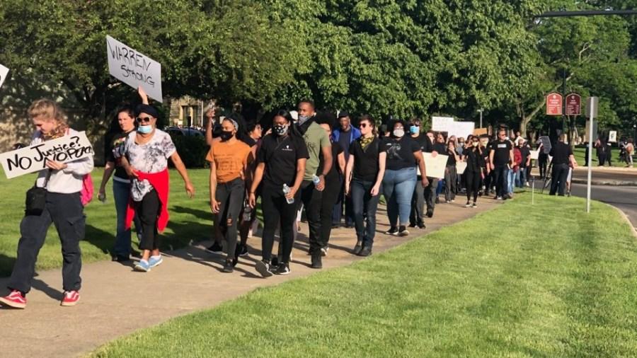 Peaceful protest in Warren