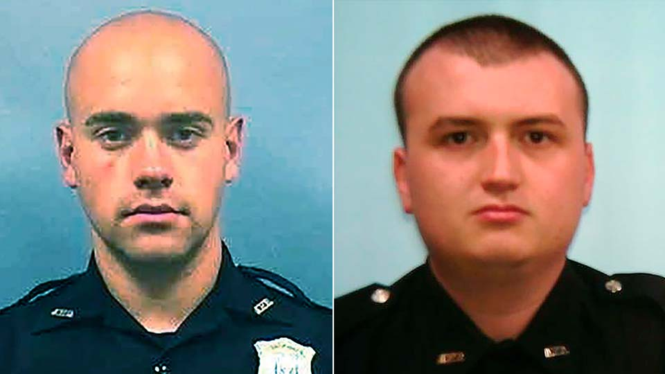 This combination of photos provided by the Atlanta Police Department shows Officer Garrett Rolfe, left and Officer Devin Brosnan.