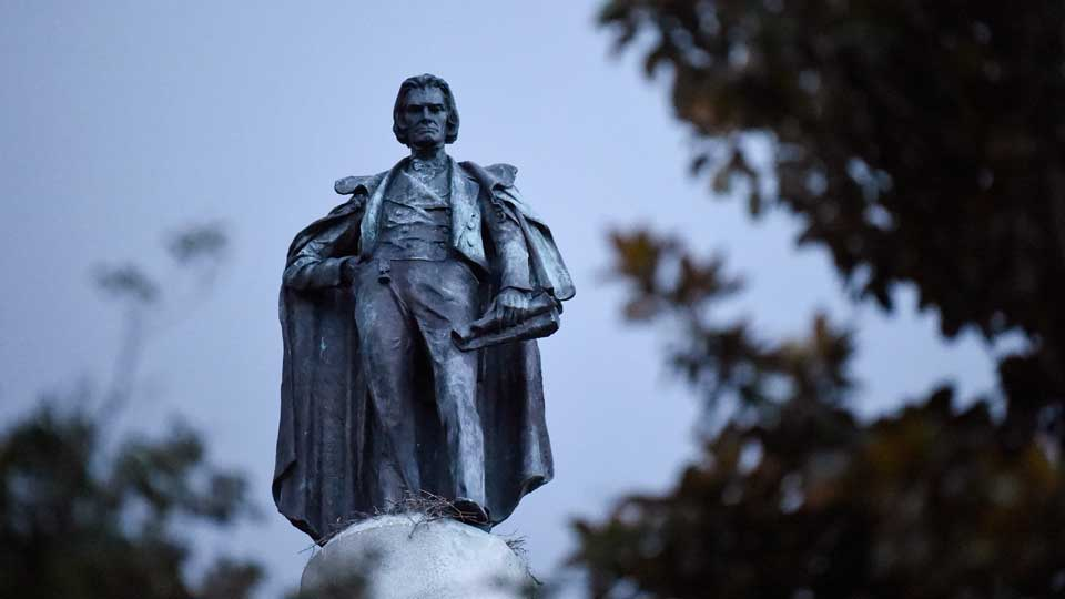 A 100-foot monument to former U.S. vice president and slavery advocate John C. Calhoun