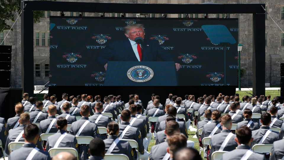 At West Point, Trump stresses unity, nation's core values.