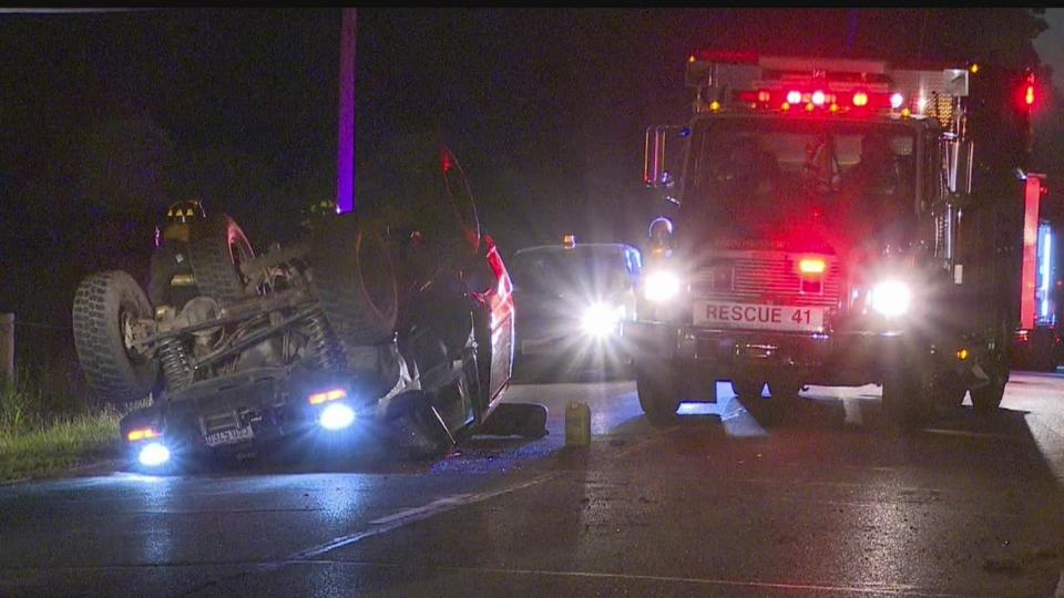 Rollover crash on Austintown-Warren Road in Weathersfield.