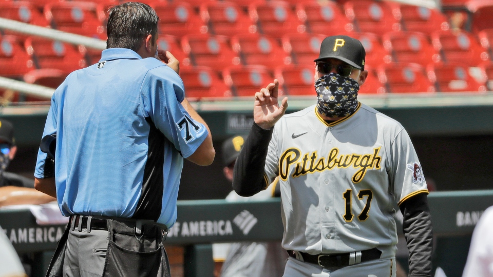 Pittsburgh Pirates manager Derek Shelton (17) argues with home plate umpire Jordan Baker during the third inning of a baseball game against the St. Louis Cardinals Sunday, July 26, 2020, in St. Louis.
