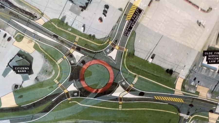 Hermitage roundabout at Route 62 and East State Street