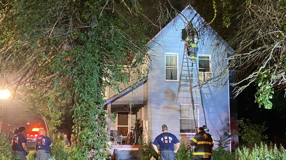 A family in Youngstown is safe after getting out of their burning house Thursday.